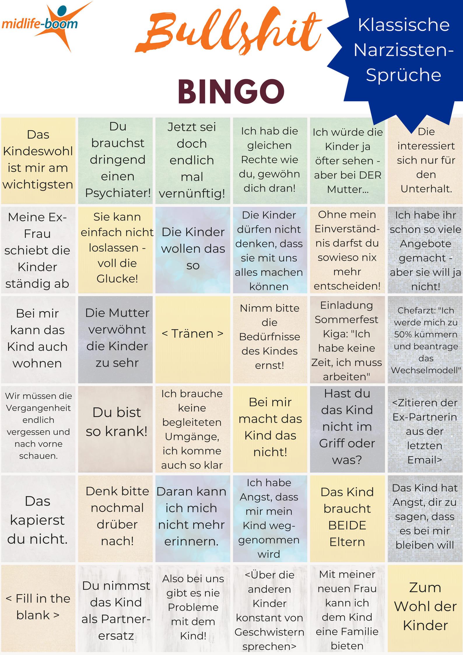 Bullshit-Bingo für Mütter mit toxischen und narzisstischen Ex-Partnern